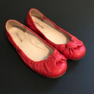 Prada Leather Knot Bow Flats Shoes Size 37 Coral